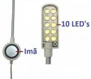 LUMINÁRIA 10 LEDs HASTE FLEXÍVEL