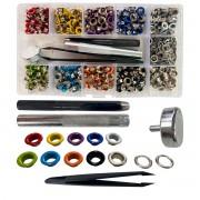 Kit 400 ilhoses coloridos + ferramenta + Vazador + Pinça + Estojo Plástico